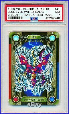 Yugioh PSA 7 Blue-Eyes White Dragon 3 Body Bandai Sealdass #41 Japanese