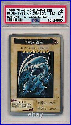 Yugioh PSA 8 Blue-Eyes White Dragon 1998 BANDAI 1ST Generation #9 Japanese
