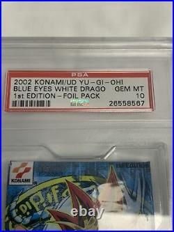 Yugioh Psa 10 Gem Legend Of Blue Eyes White Dragon 1st Edition Booster Pack